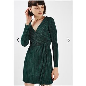 Topshop Long Sleeve Pleated Wrap Dress